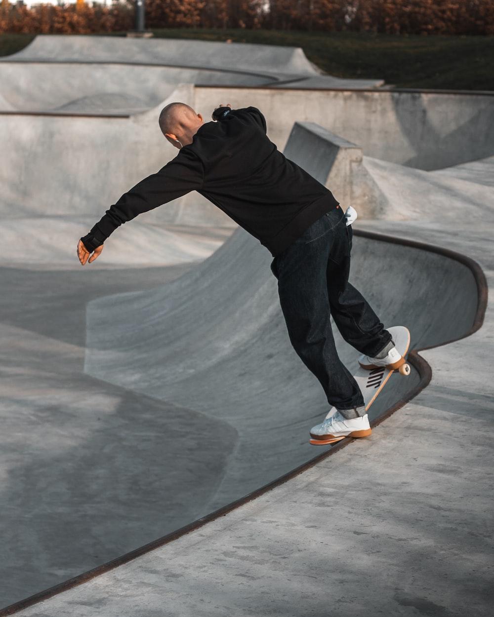 skating man on ramp