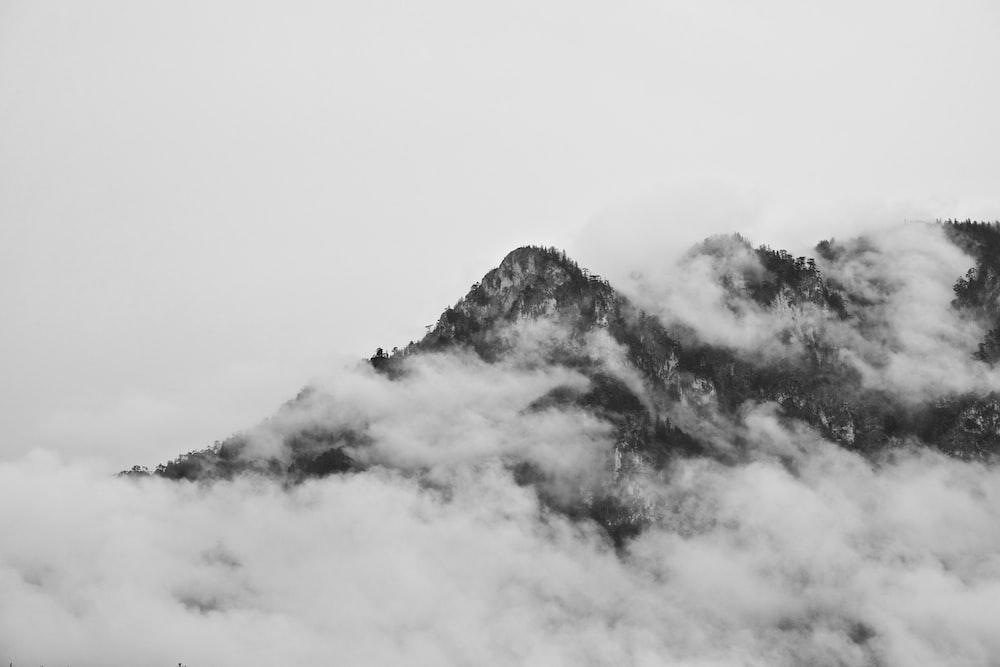birds eye photography of mountain