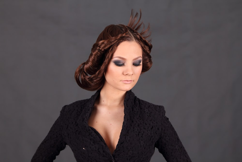 man in black crochet top