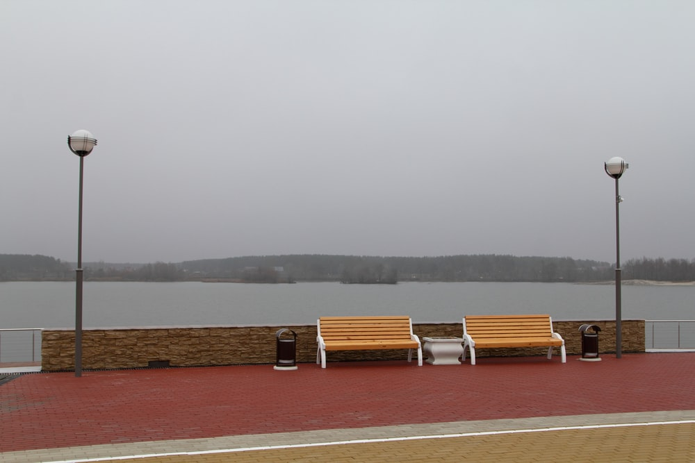 brown and white wooden bench beside water