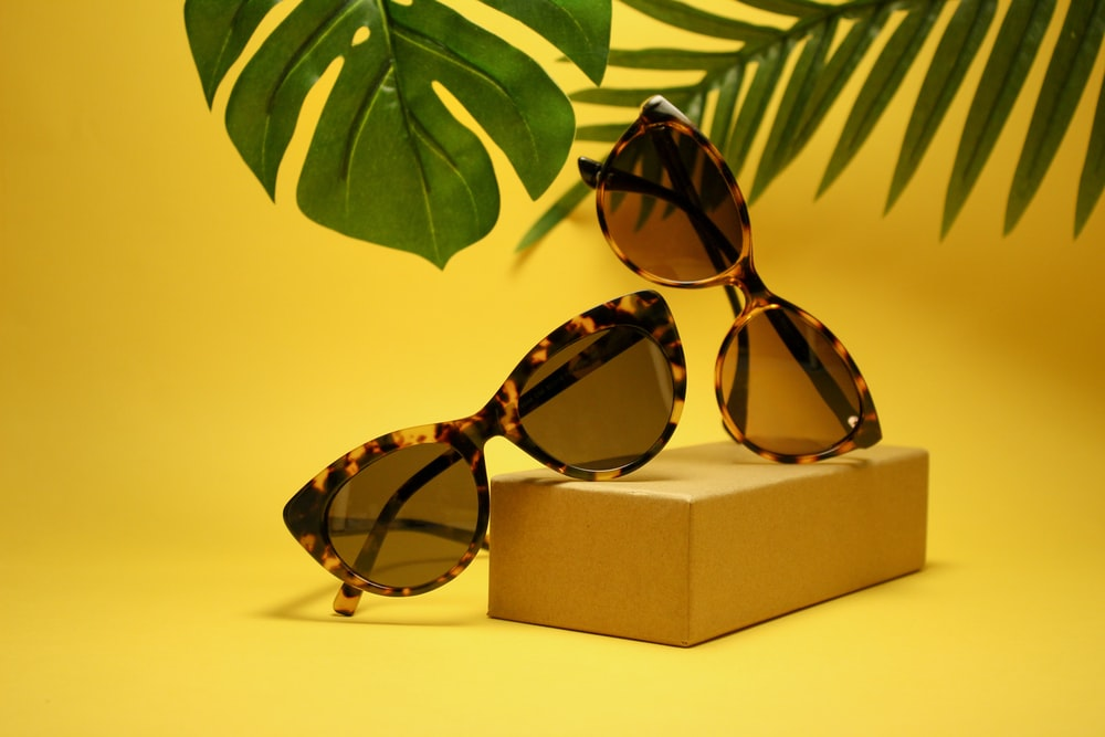two tortoiseshell-framed Wayfarer-styled sunglasses with box