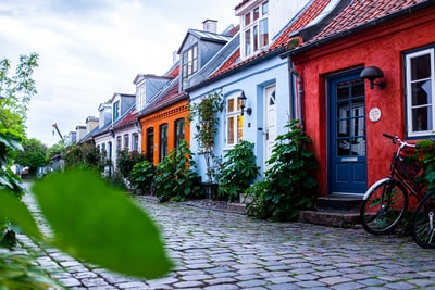 close-up photo of colorful houses denmark teams background