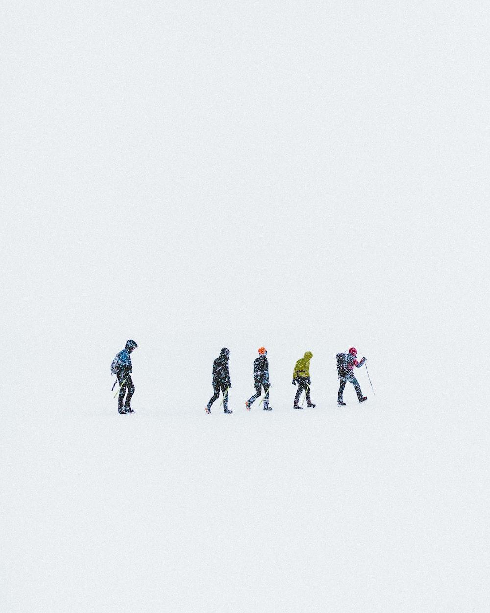 five people on snow