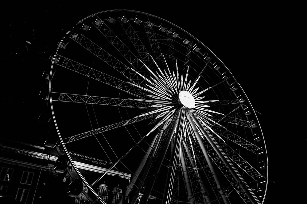 gray and black Ferris wheel during nighttime