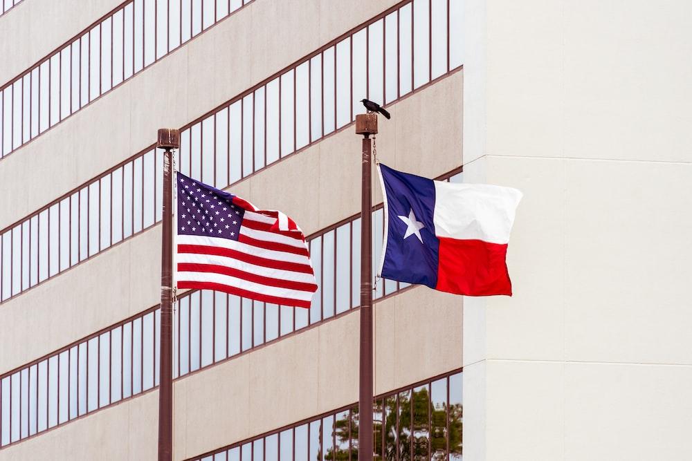 Texas Flag and USA flag on poles