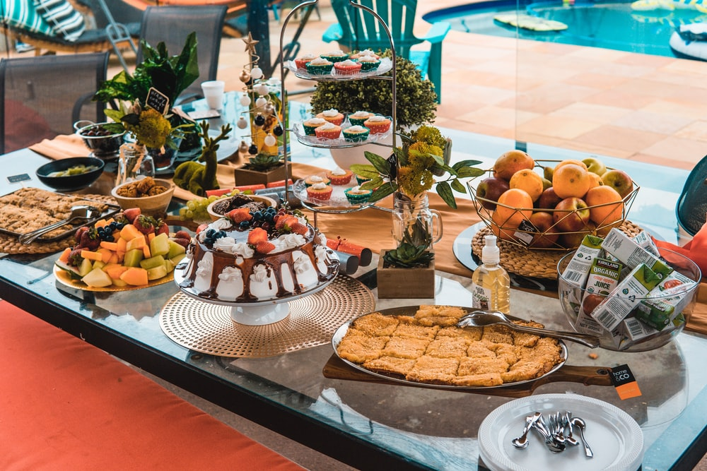 variety of food on table