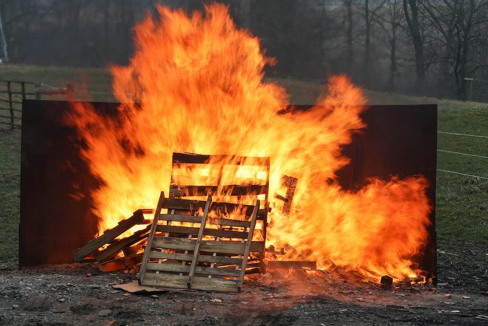 burned wooden pallet