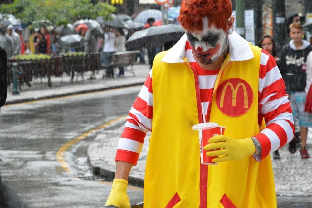 man wearing McDonald costume