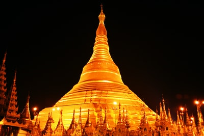 grey concrete temple during nighttime myanmar zoom background
