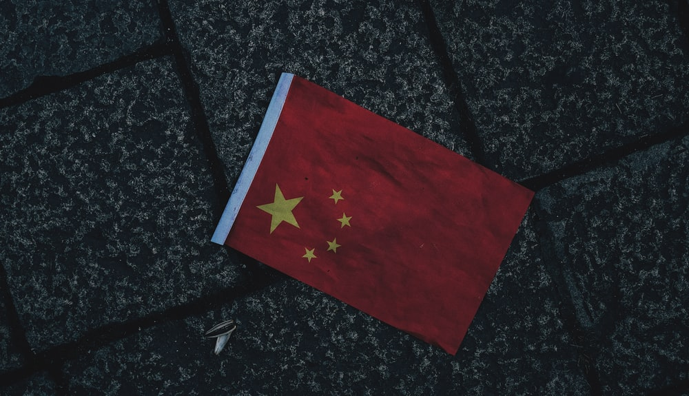 flaglet of China on gray surface