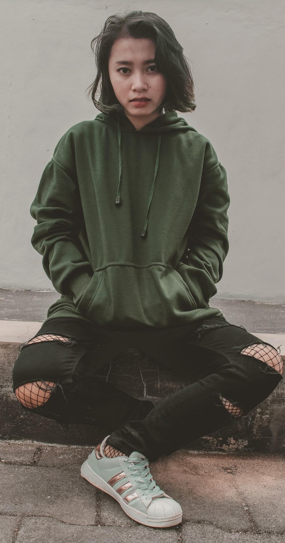 women's green hoodie