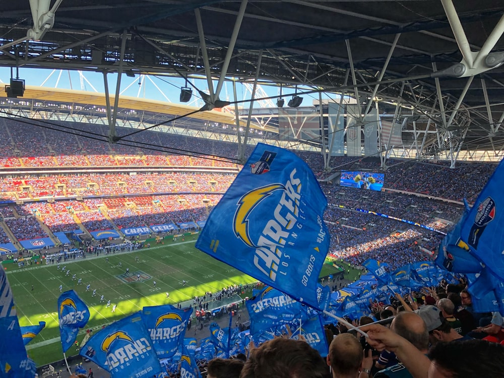 Los Angeles Chargers waving flags