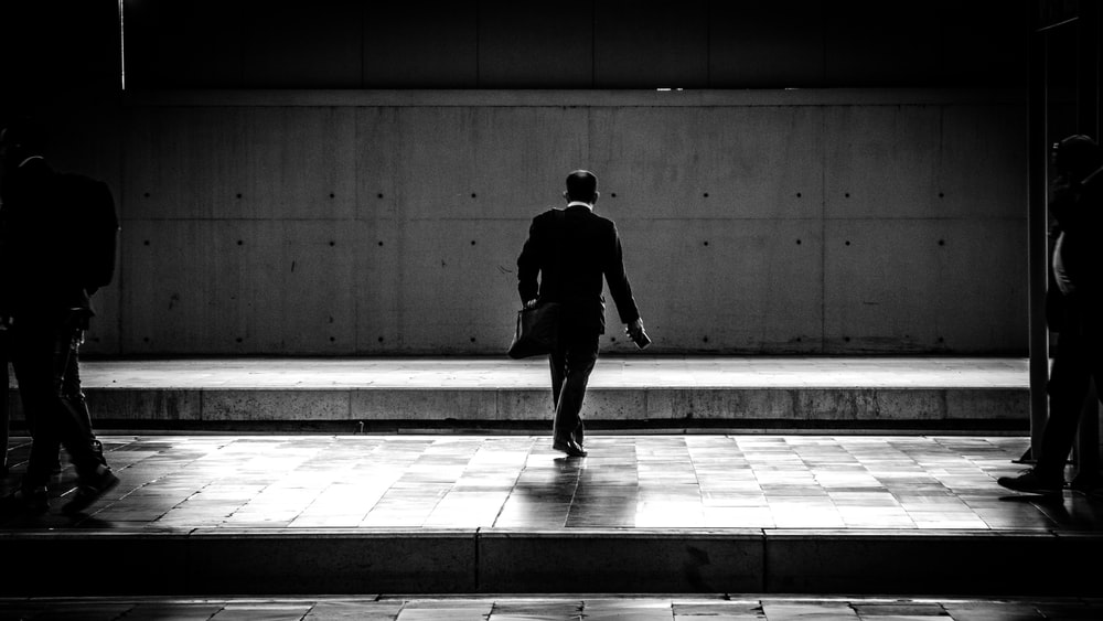 person walking in the station
