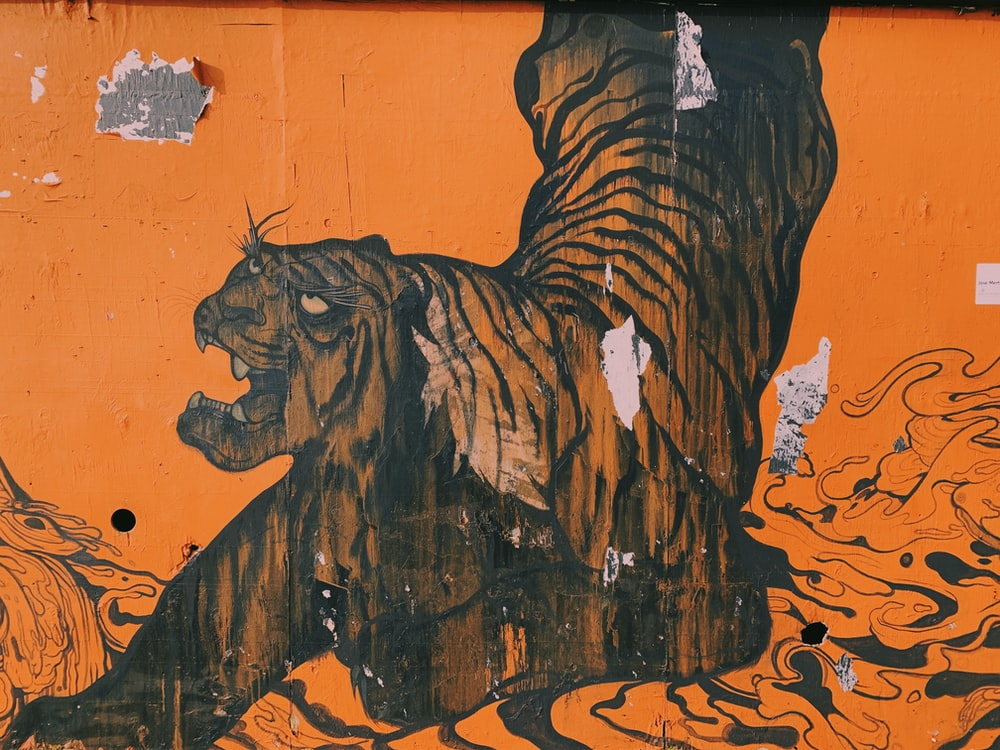 brown tiger painting