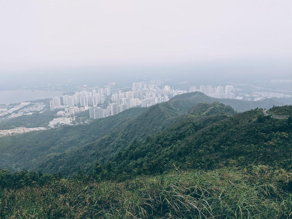 mountains and high rise buildings