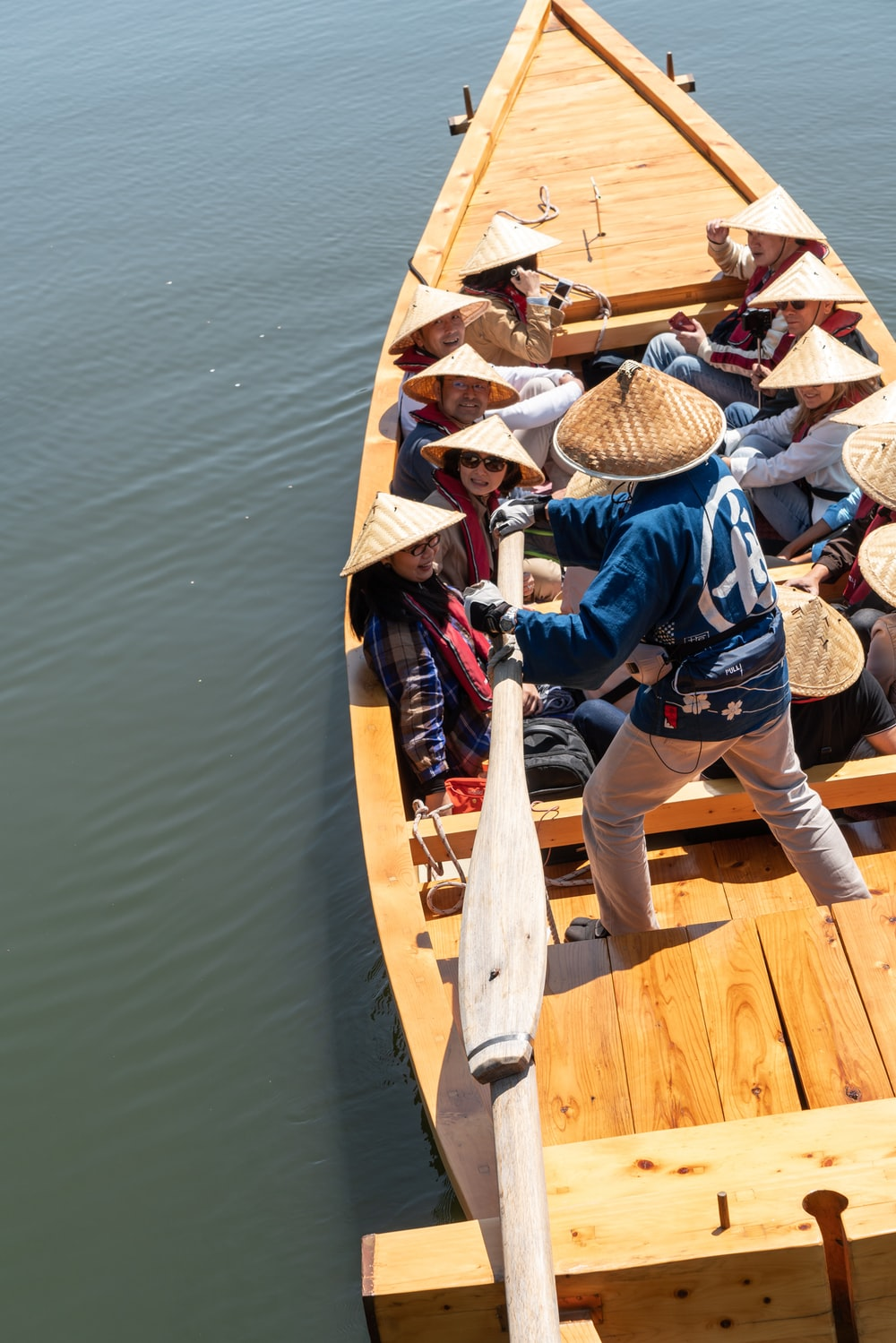 group of people riding boat