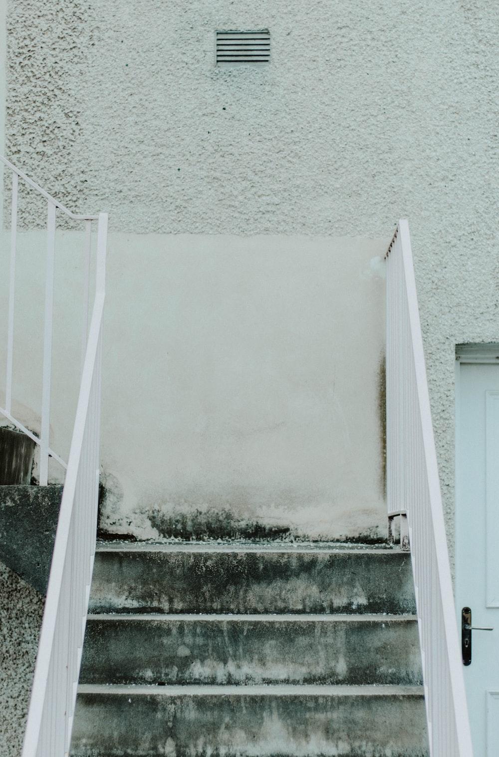 empty white stairs