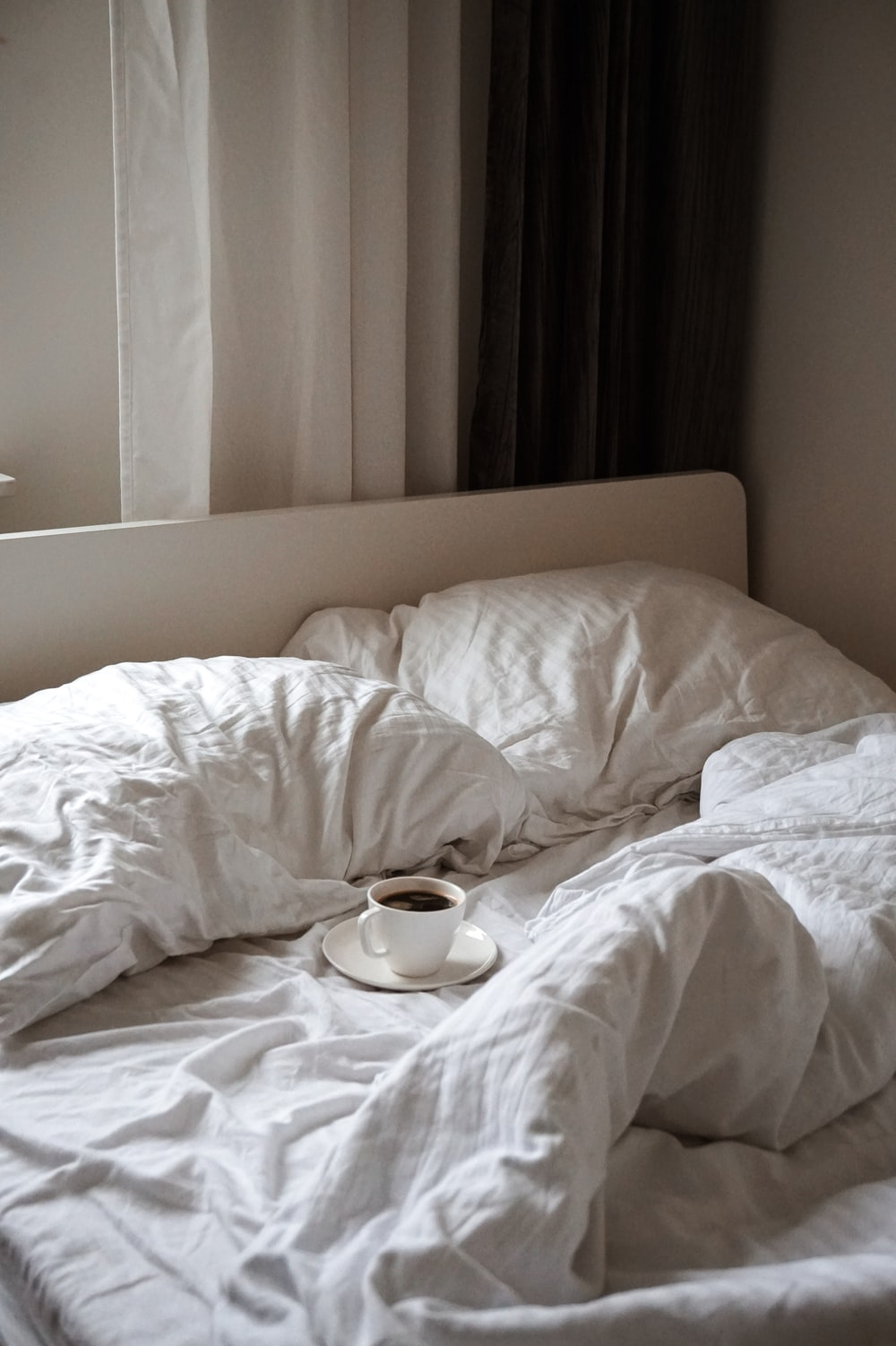 coffee on cup on bed