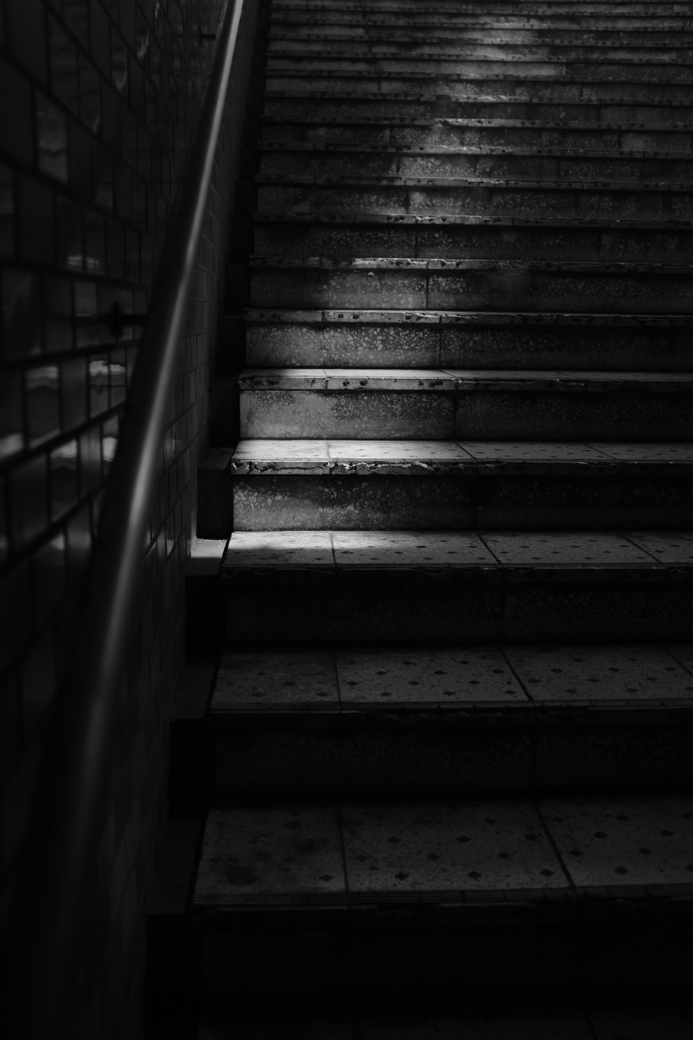 grayscale photo of stairs