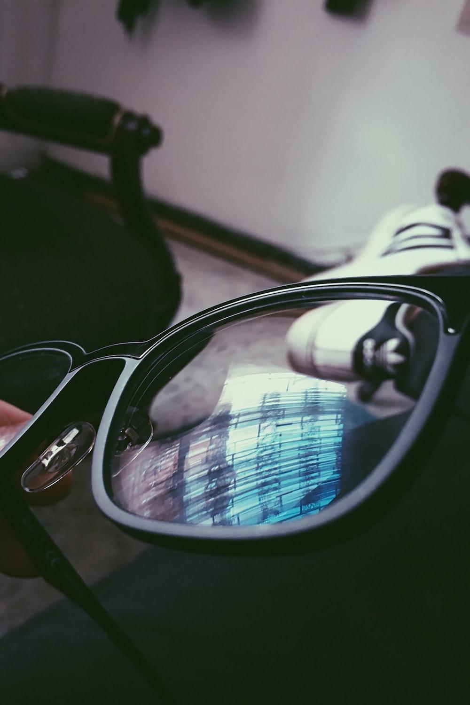 grey frame eyeglasses