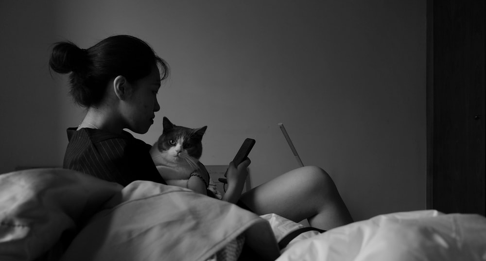 woman holding cat while using smartphone on bed