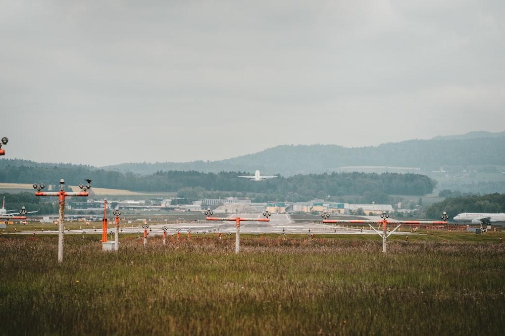 white-and-orange posts on grass