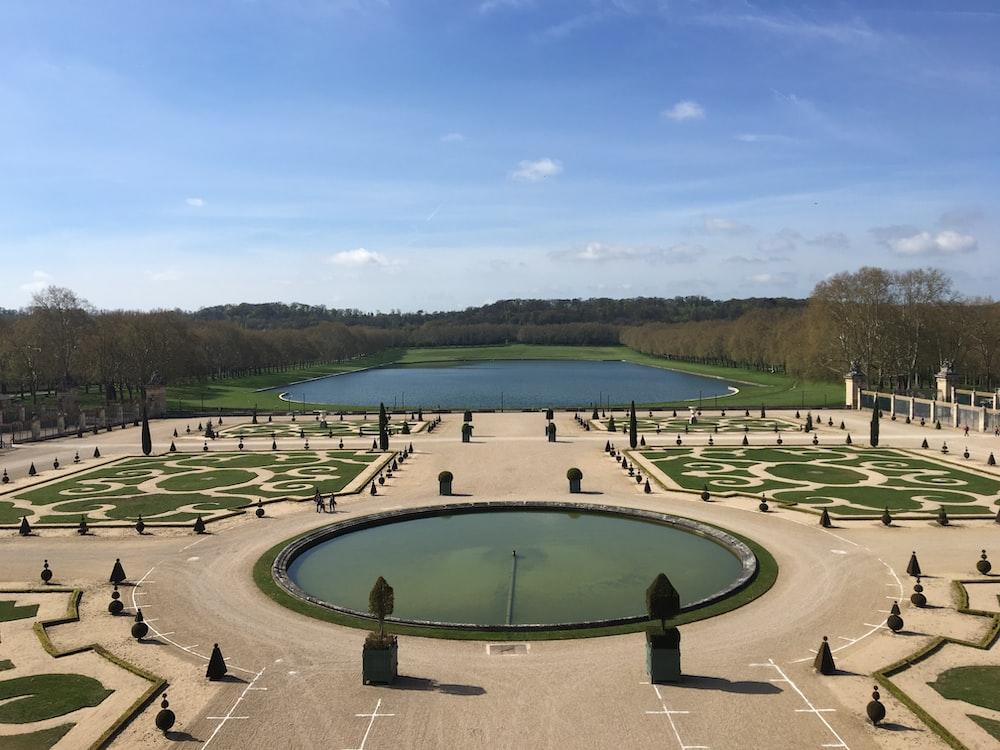 landscape photography of garden pond