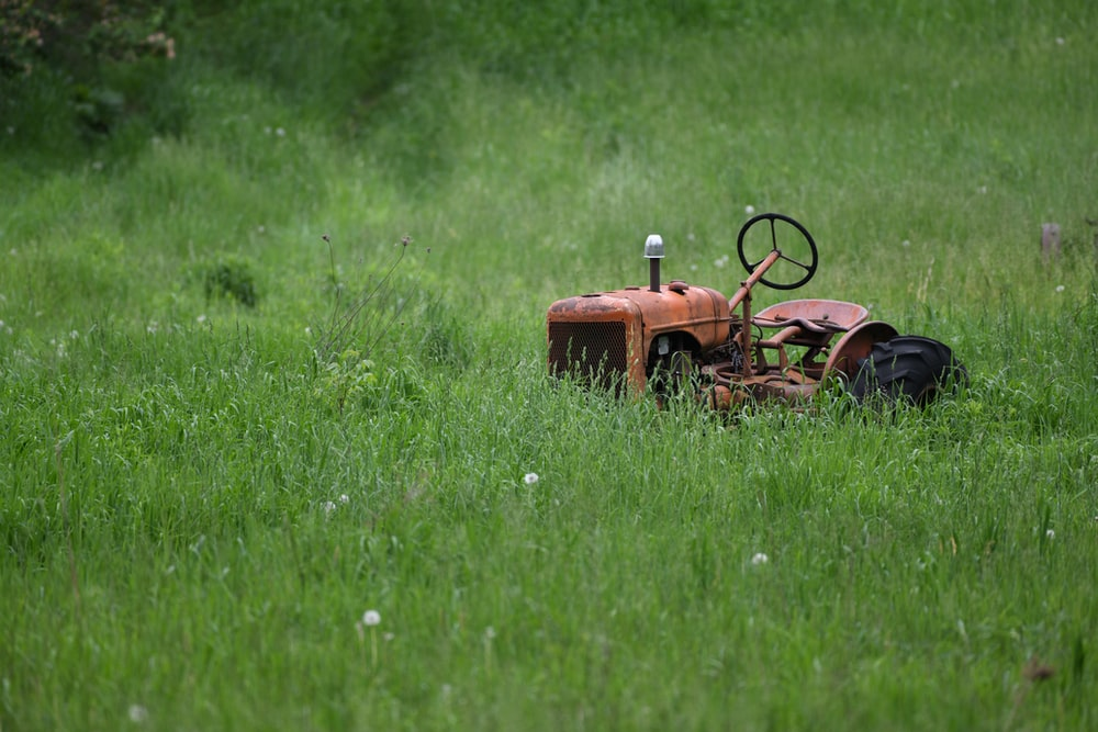 orange tractor on green grass field during daytime