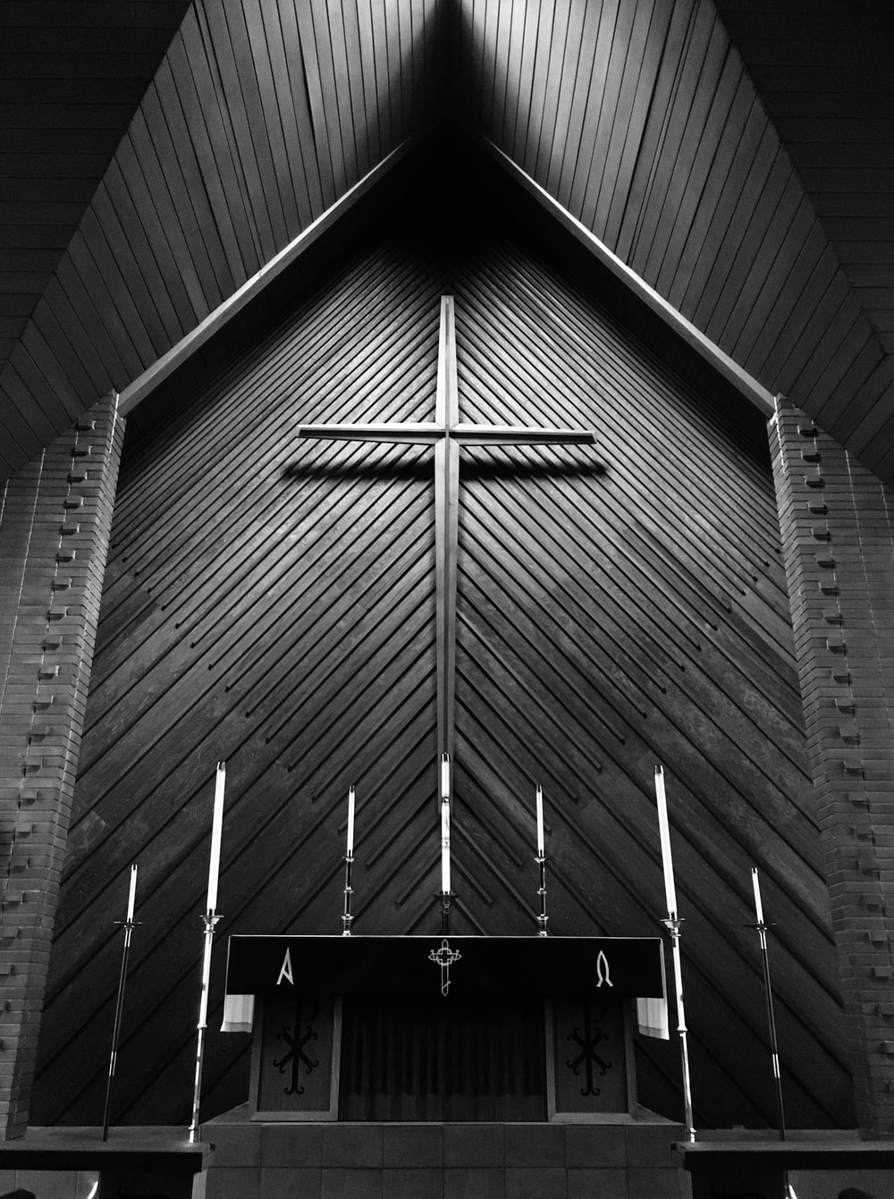 greyscale photography of church altar