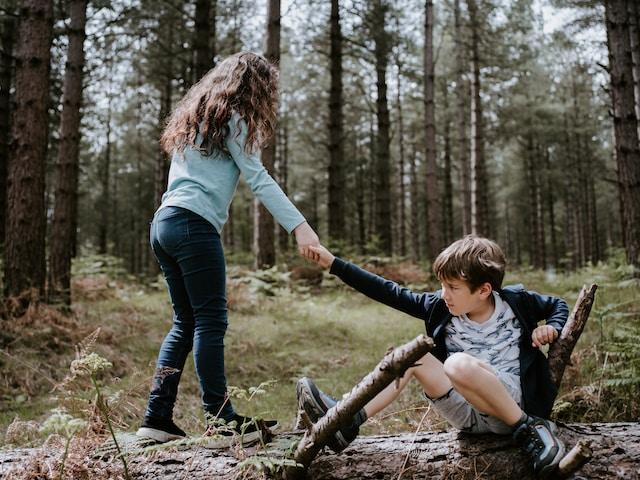 boy and girl playing on three tree log