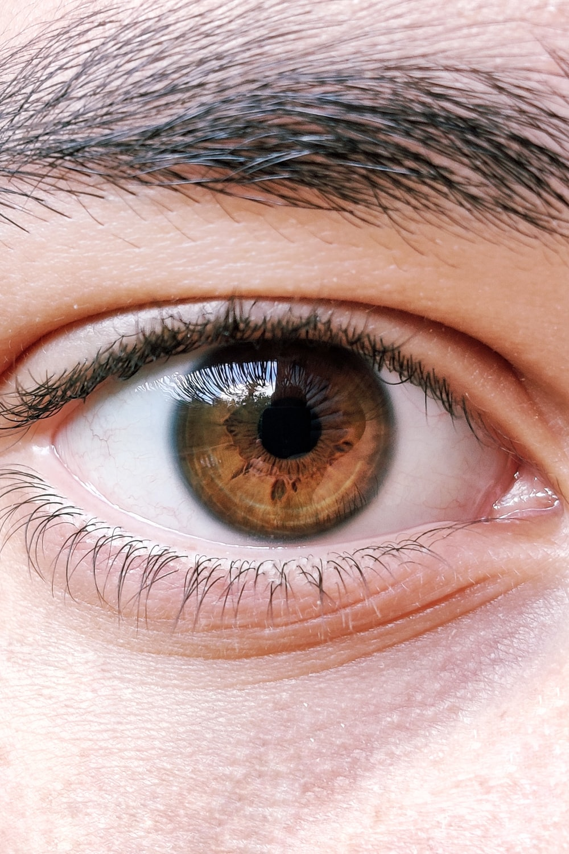 human eye in close-up photo