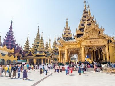 yellow concrete temple