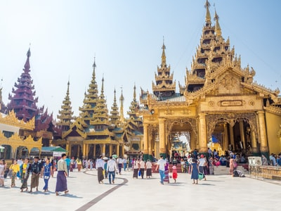 yellow concrete temple myanmar teams background