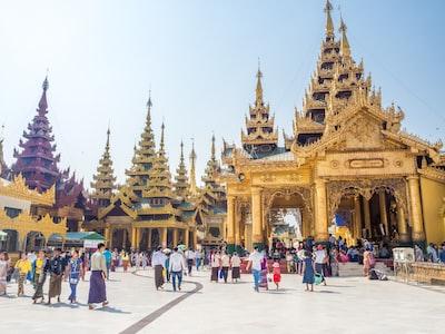 yellow concrete temple myanmar zoom background
