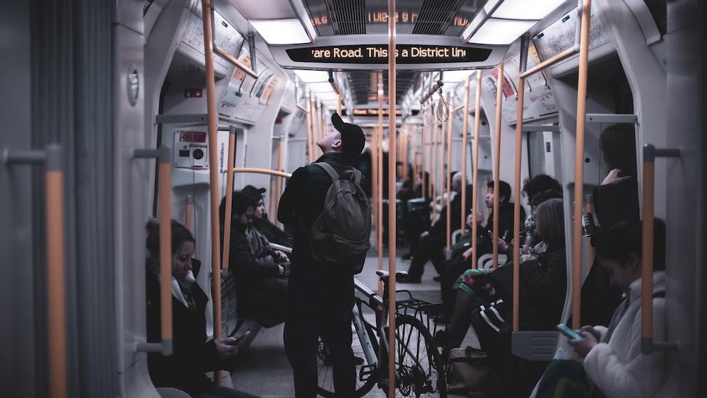 man riding inside train