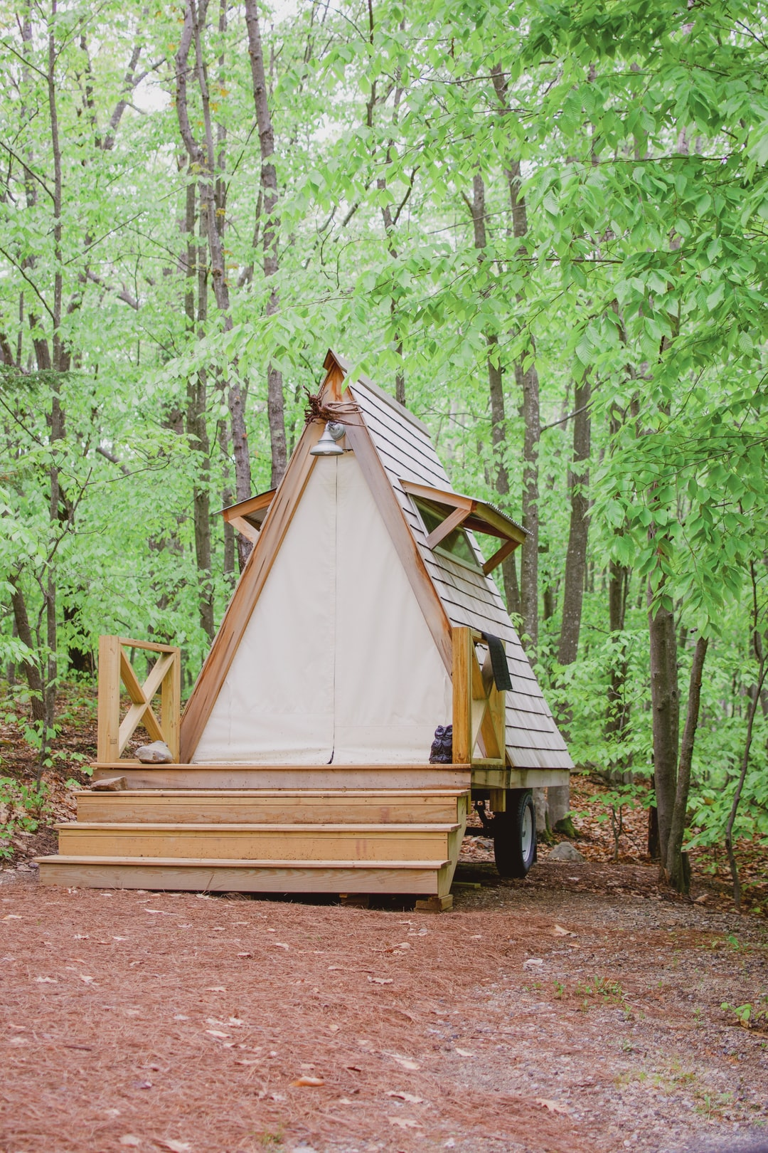 Glamping tiny A-frame cabin.