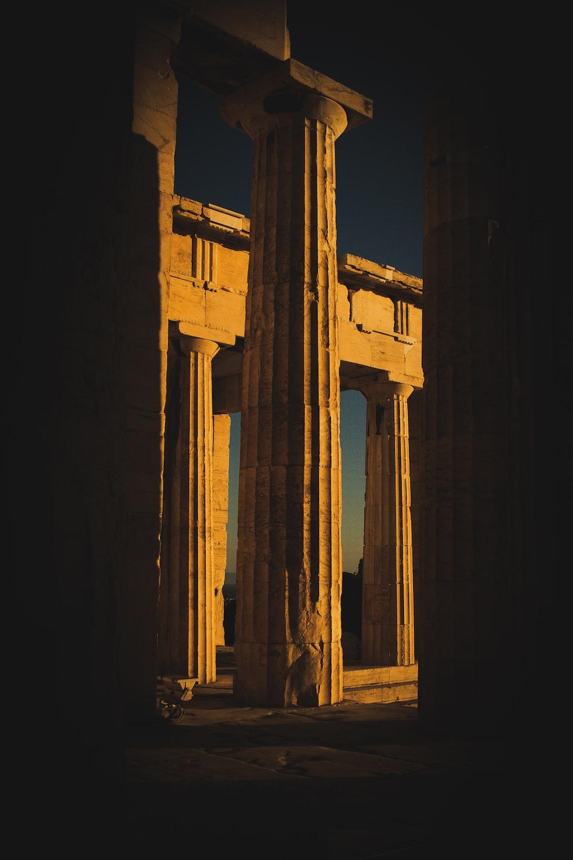 concrete pillars during golden hour