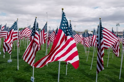 flags of usa with pole memorial day teams background