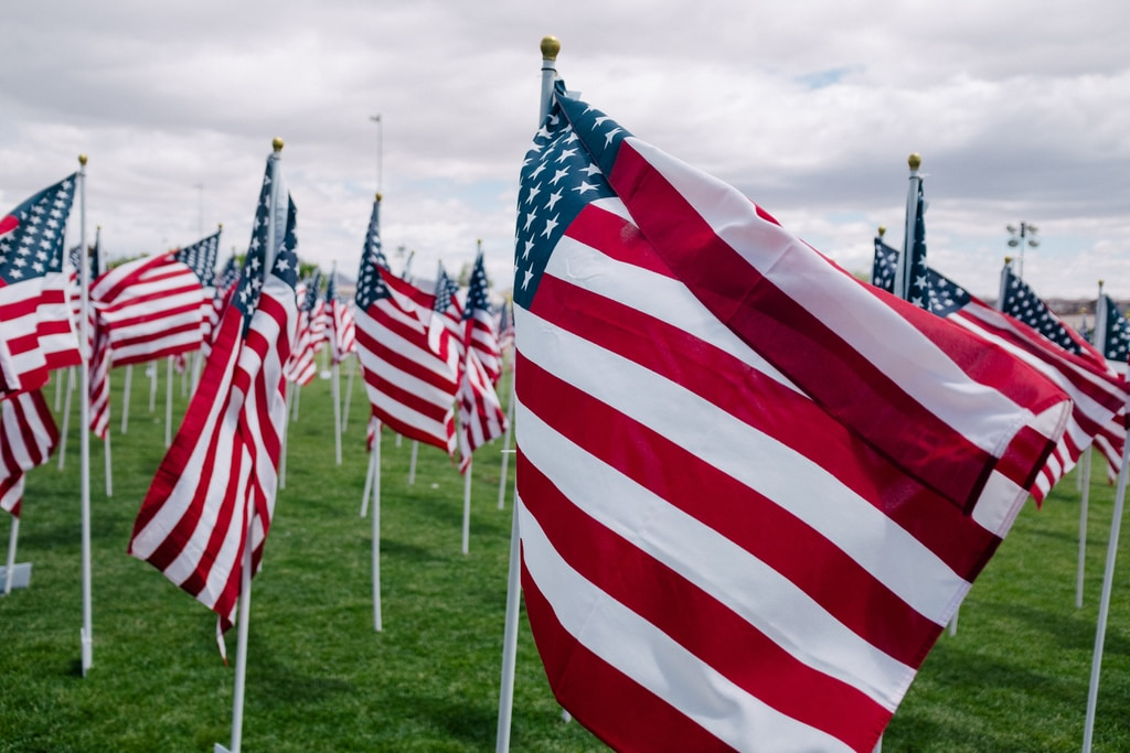 rows of American flags on a field
