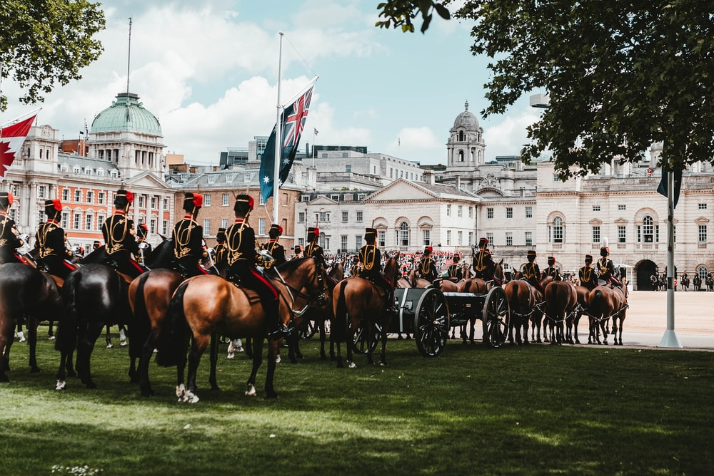 soldiers on horses in parade