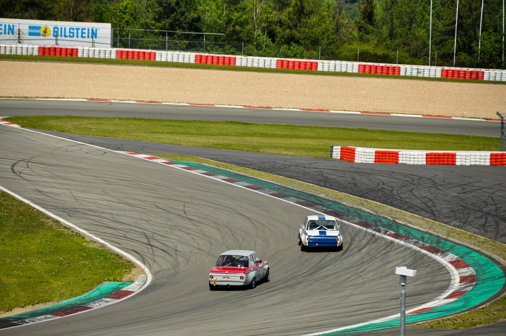 two racing cars on race track