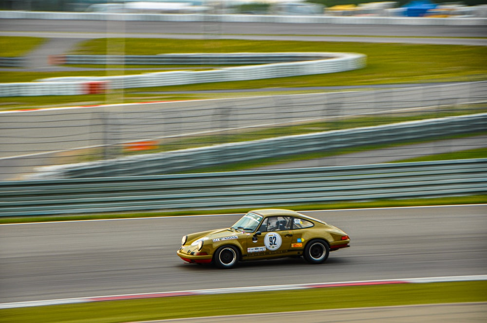 time-lapse photography of race car