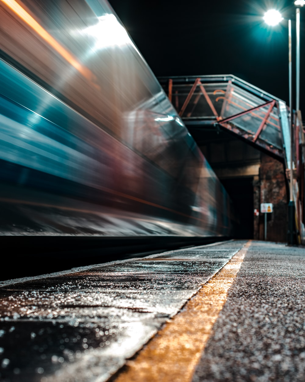 time-lapse photography of train during night
