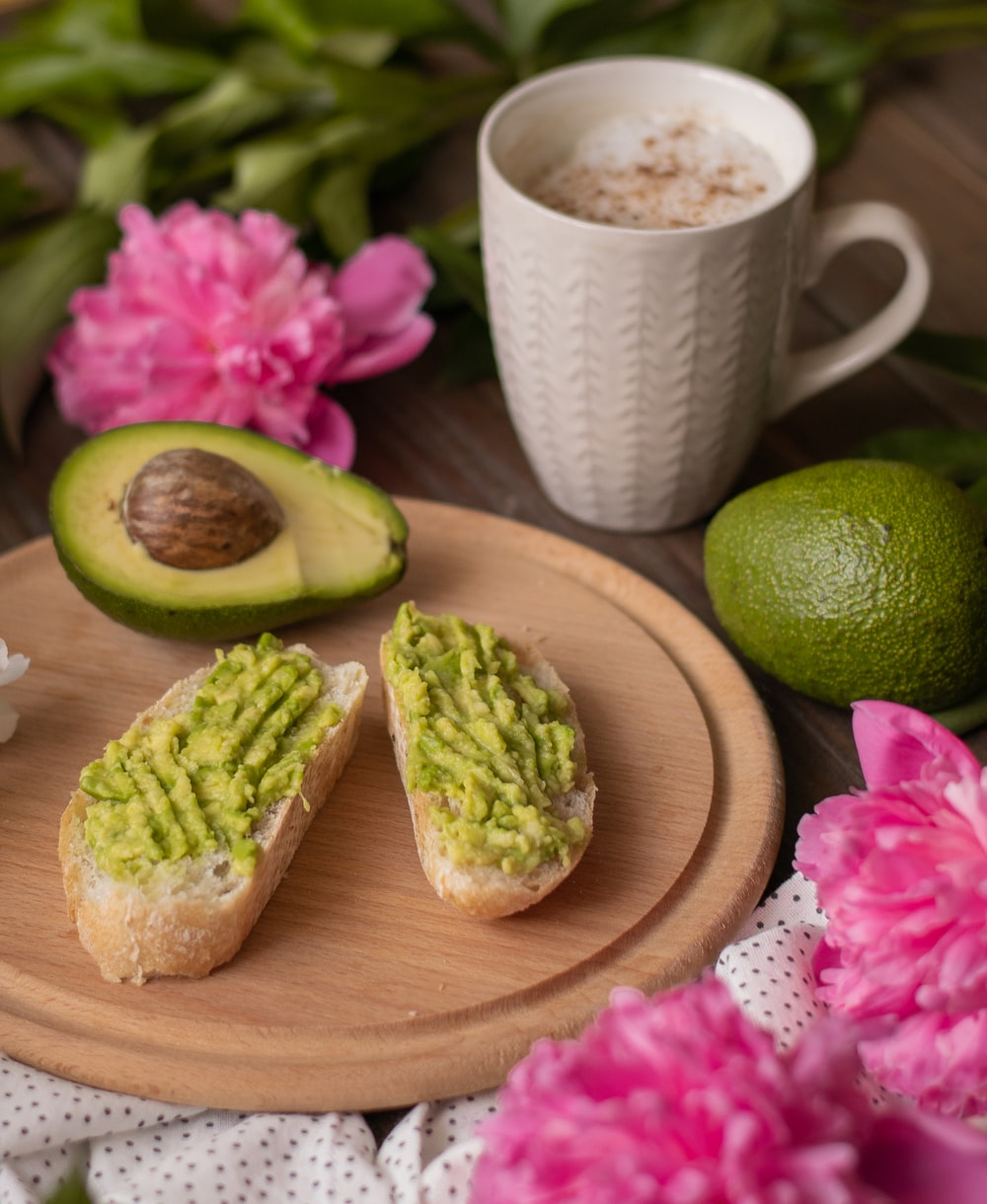 bread with guacamole spread