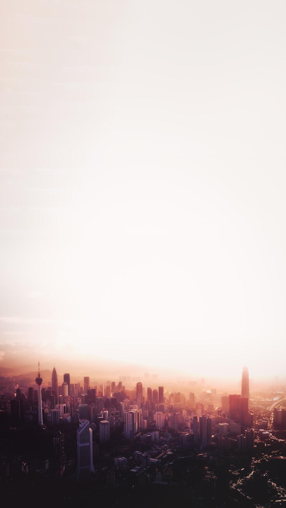 cityscape under white sky