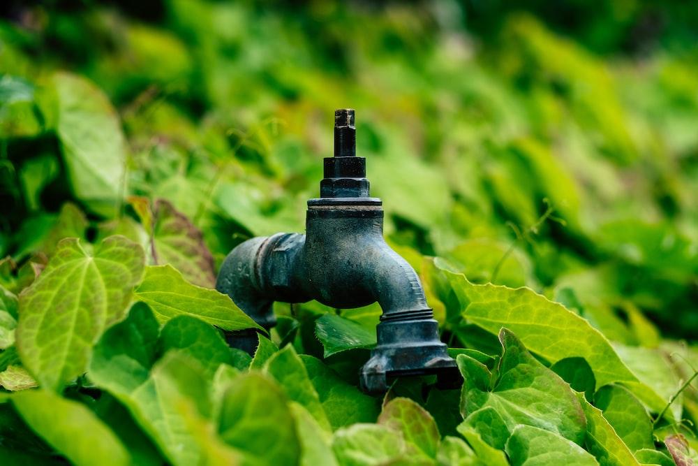 gray metal faucet