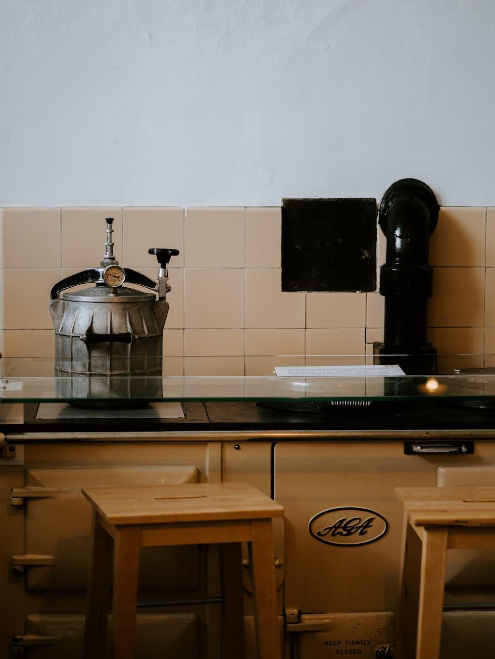 two wooden bar stools near kitchen island photo – Free Wood ...