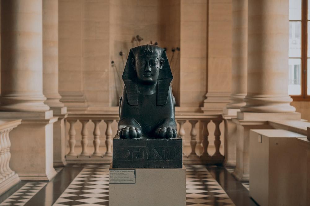 Pharaoh statue inside room