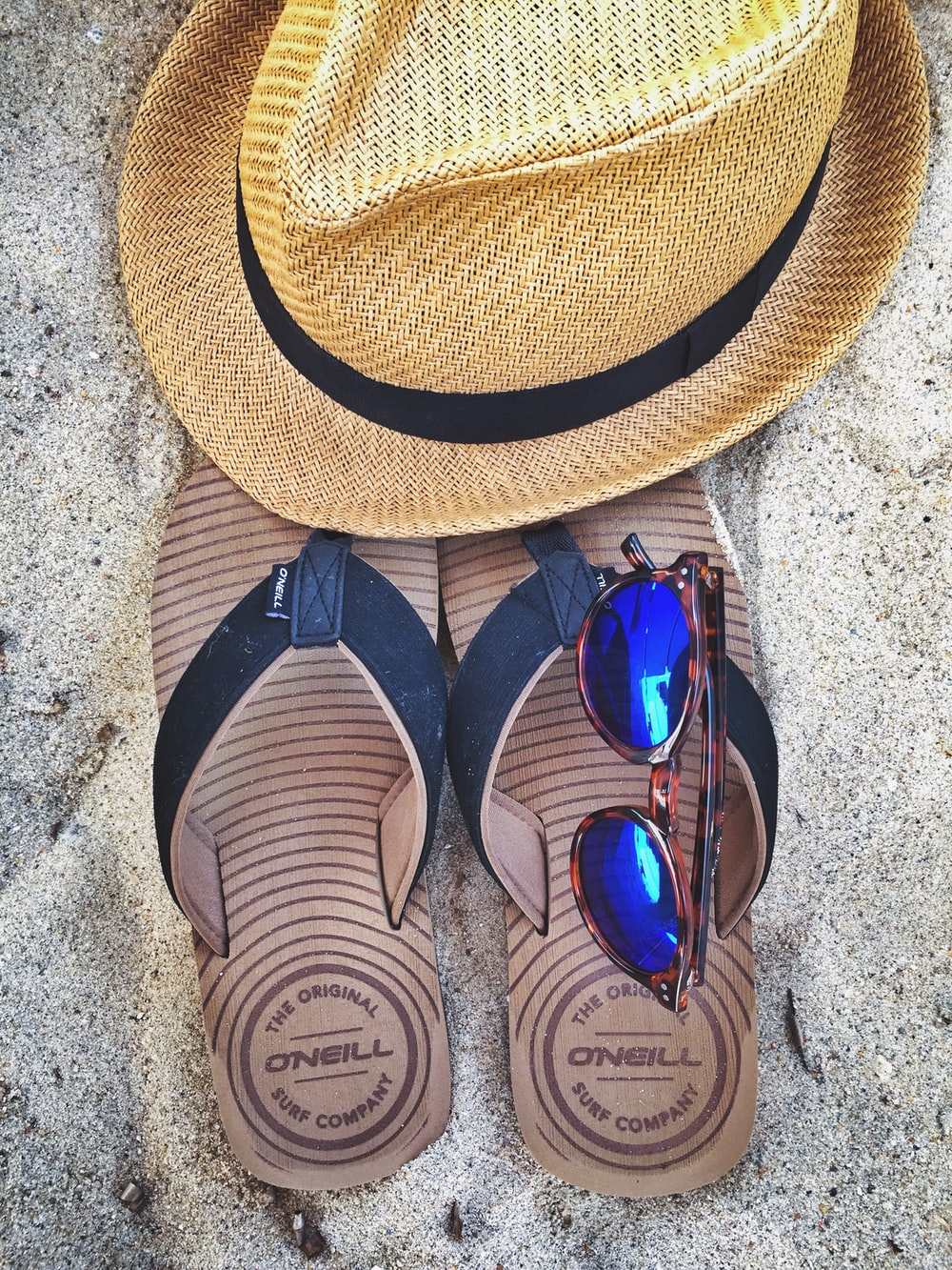 pair of black flip-flops