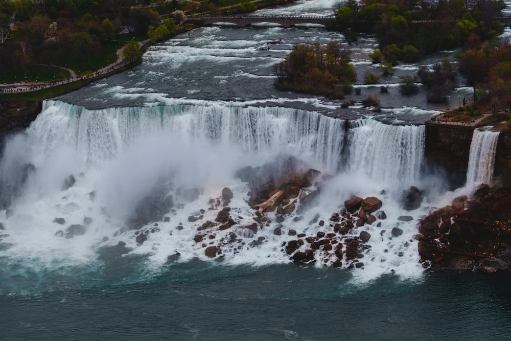 aerial photo of waterfalls